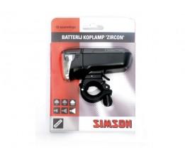 """Simson Batterijkoplamp  """"zircon"""" 40 Lux, Stuurmontage, Inclusief Batteri"""